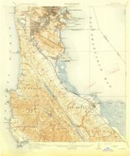 San Mateo, California 1915 (1915) USGS Old Topo Map 15x15 Quad