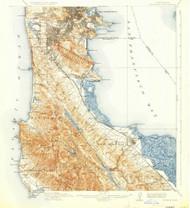 San Mateo, California 1915 (1930) USGS Old Topo Map 15x15 Quad