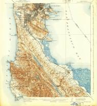 San Mateo, California 1915 (1939) USGS Old Topo Map 15x15 Quad