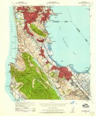 San Mateo, California 1939 (1958a) USGS Old Topo Map 15x15 Quad