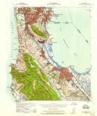San Mateo, California 1939 (1958b) USGS Old Topo Map 15x15 Quad
