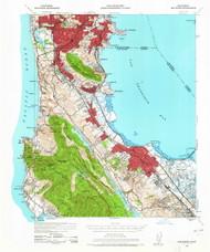 San Mateo, California 1939 (1965) USGS Old Topo Map 15x15 Quad