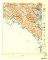 Tamalpais, California 1897 (1897) USGS Old Topo Map 15x15 Quad