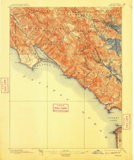 Tamalpais, California 1897 (1910) USGS Old Topo Map 15x15 Quad