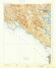 Tamalpais, California 1897 (1932) USGS Old Topo Map 15x15 Quad