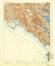Tamalpais, California 1897 (1940) USGS Old Topo Map 15x15 Quad