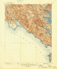 Tamalpais, California 1897 (1945) USGS Old Topo Map 15x15 Quad