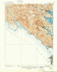 Tamalpais, California 1897 (1950) USGS Old Topo Map 15x15 Quad