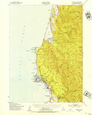 Trinidad, California 1952 (1954) USGS Old Topo Map 15x15 Quad