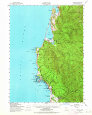 Trinidad, California 1952 (1964) USGS Old Topo Map 15x15 Quad