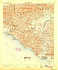 Ventura, California 1904 (1904) USGS Old Topo Map 15x15 Quad