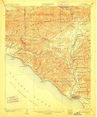 Ventura, California 1904 (1910) USGS Old Topo Map 15x15 Quad