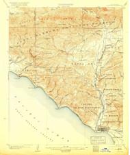 Ventura, California 1904 (1918) USGS Old Topo Map 15x15 Quad