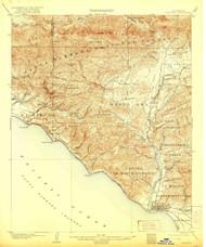 Ventura, California 1904 (1921) USGS Old Topo Map 15x15 Quad