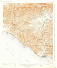 Ventura, California 1904 (1938) USGS Old Topo Map 15x15 Quad