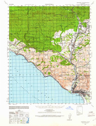 Ventura, California 1941 (1961) USGS Old Topo Map 15x15 Quad