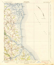 Bowers, Delaware 1936 (1936a) USGS Old Topo Map 15x15 Quad