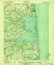 Rehoboth, Delaware 1918 (1918b) USGS Old Topo Map 15x15 Quad
