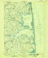 Rehoboth, Delaware 1918 (1928b) USGS Old Topo Map 15x15 Quad