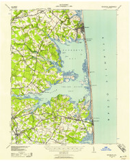 Rehoboth, Delaware 1938 (1958) USGS Old Topo Map 15x15 Quad