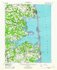 Rehoboth, Delaware 1938 (1954) USGS Old Topo Map 15x15 Quad
