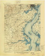 Wilmington, Delaware 1906 (1944) USGS Old Topo Map 15x15 Quad