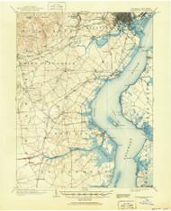 Wilmington, Delaware 1906 (1951) USGS Old Topo Map 15x15 Quad