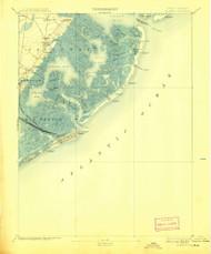 Atlantic City, New Jersey 1894 (1908) USGS Old Topo Map 15x15 Quad
