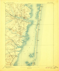 Barnegat, New Jersey 1898 (1908) USGS Old Topo Map 15x15 Quad