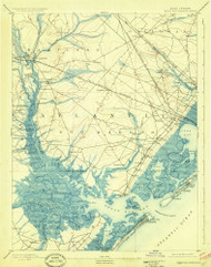 Great Egg Harbor, New Jersey 1893 (1925) USGS Old Topo Map 15x15 Quad
