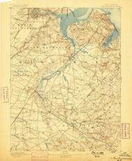 New Brunswick, New Jersey 1893 (1898) USGS Old Topo Map 15x15 Quad