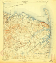 Sandy Hook, New Jersey 1901 (1908) USGS Old Topo Map 15x15 Quad