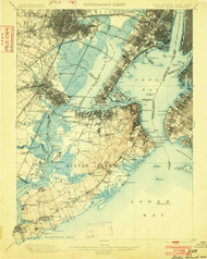 Staten Island, New Jersey 1900 (1902) USGS Old Topo Map 15x15 Quad