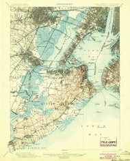 Staten Island, New Jersey 1900 (1904) USGS Old Topo Map 15x15 Quad