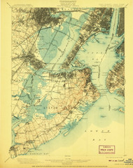 Staten Island, New Jersey 1906 (1908) USGS Old Topo Map 15x15 Quad