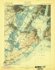Staten Island, New Jersey 1900 (1920) USGS Old Topo Map 15x15 Quad