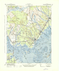 Tuckerton, New Jersey 1942 (1942a) USGS Old Topo Map 15x15 Quad