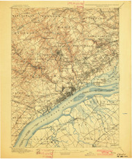 Chester, Pennsylvaniya 1898 (1901) USGS Old Topo Map 15x15 Quad