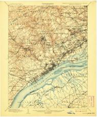 Chester, Pennsylvaniya 1898 (1908) USGS Old Topo Map 15x15 Quad