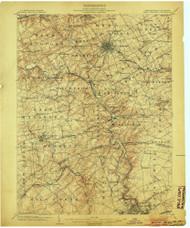 West Chester, Pennsylvaniya 1904 (1904) USGS Old Topo Map 15x15 Quad
