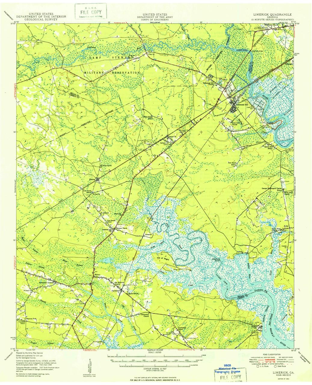 Map Of Old Georgia.Limerick Georgia 1950 1950a Usgs Old Topo Map 15x15 Quad