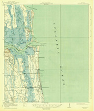 Mayport, Florida 1918 (1943) USGS Old Topo Map 15x15 Quad