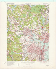 Salem, MA 1949-1952 Original USGS Old Topo Map 7x7 Quad 31680 - MA-47