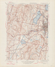 Pittsfield (West), MA 1944-1947 Original USGS Old Topo Map 7x7 Quad 31680 - MA-50