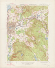 Pittsfield (East), MA 1944-1947 Original USGS Old Topo Map 7x7 Quad 31680 - MA-51