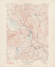 Belchertown, MA 1943-1950 Original USGS Old Topo Map 7x7 Quad 31680 - MA-79