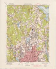 Worcester, MA 1949-1939 Original USGS Old Topo Map 7x7 Quad 31680 - MA-84