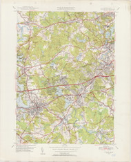 Natick, MA 1950-1956 Original USGS Old Topo Map 7x7 Quad 31680 - MA-88