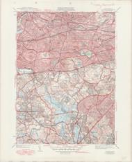 Newton, MA 1946-1950 Original USGS Old Topo Map 7x7 Quad 31680 - MA-89