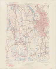 Brockton, MA 1941-1951 Original USGS Old Topo Map 7x7 Quad 31680 - MA-135